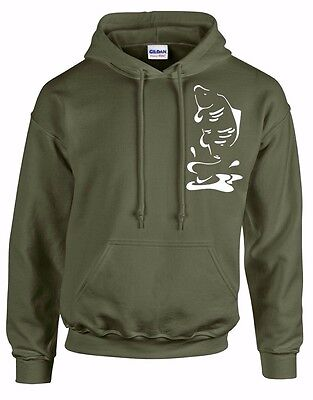Carp Fishing Clothing, *** Sale! *** Olive Green Hoody,  Leaping Carp (Size Xxl)