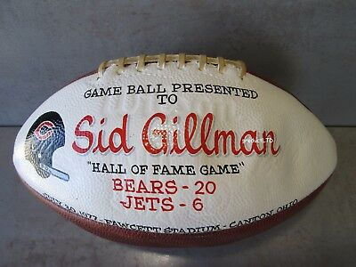 Sid Gillman 1977 Nfl Hall Of Fame Game Ball Chicago Bears 20-6 Ny Jets Canton Oh