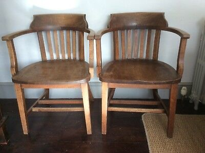 pair oak carver desk library chairs antique arts crafts elbow office tub 2 chair