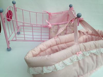 Baby Annabel Metal Cot with Bumper and Additional Unbranded Pink Moses Basket