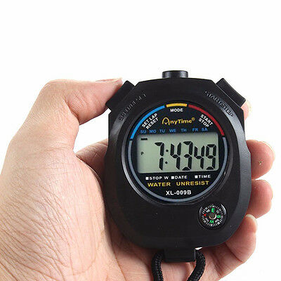 Waterproof Digital Chronograph Timer Hour Meter Counter Stopwatch with Strap
