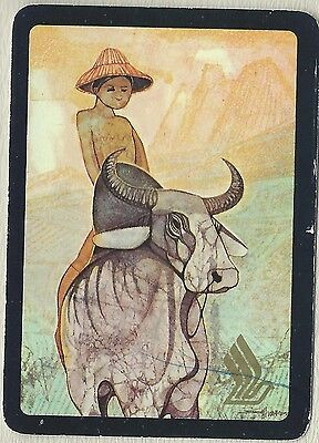Vintage Playing Swap Card Old Wide Boy on a Buffalo