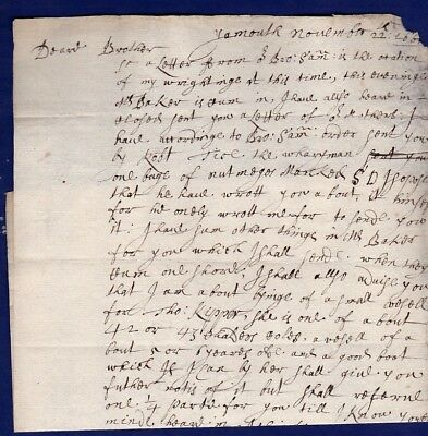 Norfolk - 1662 (22 Nov)  Pengelly Yarmouth to Norwich, no address.  Letter only