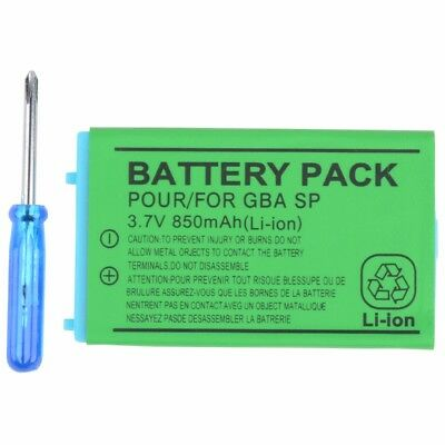 3.7V Rechargeable Battery Pack + Screwdriver For Nintendo Gameboy Advance GBA SP