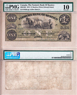 Scarce 1872 $1 Farmers Bank of Rustico.  PMG Certified VG10. Charlton 290-12-02