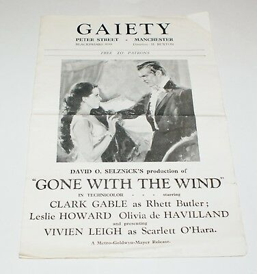 Gone with the Wind Picture Theatre Programme Gaiety Manchester 1940 Gable Leigh