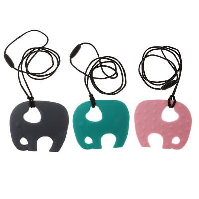 3 Piece Baby Elephant Silicone Nursing Toy Teether Teething Necklace Pendant