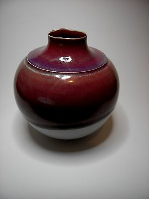 Signed Contemporary Studio Art Vase Maroon Lustre Drip Glaze over White