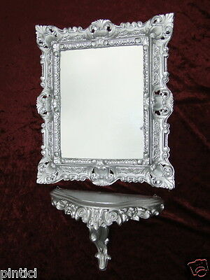 Wall Mirror Silver Baroque with Console Table 45x37 Shelf