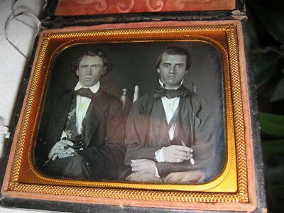 Spectacular Sixth Plate Daguerreotype Of Two Smoking Friends