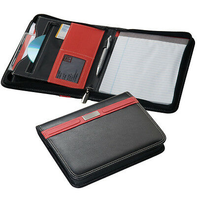 A5 Executive Red Trim Conference Folder Zip / 60 Page Line Pad & Pen Loop : 2171