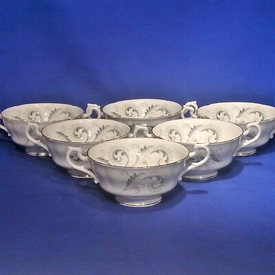 Vintage ROYAL STANDARD - GARLAND - 6 x Twin Handled SOUP COUPE CUPS BOWLS  - VGC
