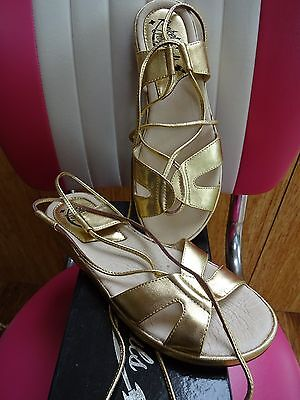 Rocket Originals 1950S Style Roman Sandals In Gold New Size 4 Uk