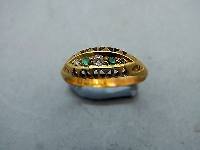 18ct Rose Gold Art Nouveau Diamond & Emerald Gypsy Scroll Ring dated 1910