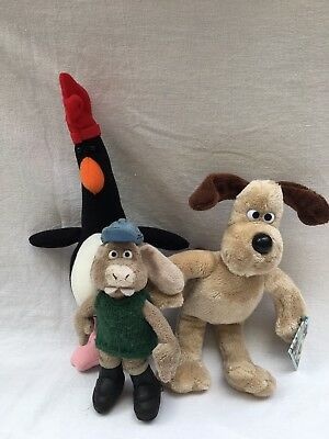 ~ WALLACE & GROMIT ~ 3 x PLUSH FIGURES == GROMIT FEATHERS McGRAW HUTCH ~