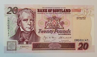 Bank of Scotland £20 Banknote - 18 June 2001 DM 000147 GOOD NUMBER SC147d - Aunc