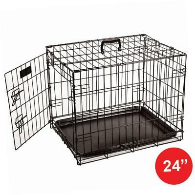 Home Discount Pet Cage Metal Folding Dog Puppy Animal Crate, 24 Inch