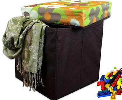 Cloth Ottoman Floral Toy Bin Collaspsible Footstool Video Equip Storage 12x12