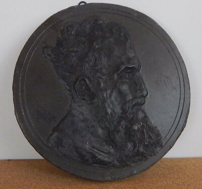 classical Style Plaster wall plaque Pre Raphaelit male Head  study circular