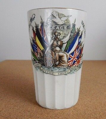 WW1 Peace Celebration Beaker  City Of Manchester Peace Celebrations 11cm tall