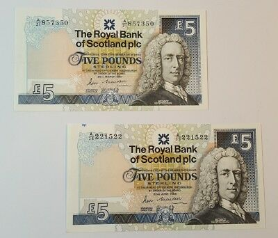 2 x Royal Bank of Scotland Plc £5 Banknotes - A/21 1987 , A/35 June 1988 - SC842
