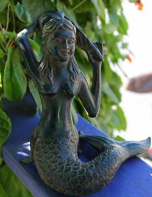 "Bronze Verdigris Little Mermaid Seashell Sculpture Statue handmade Bali Art 7"" T"