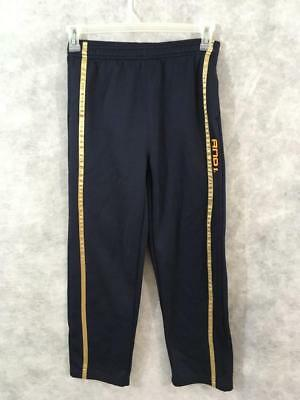 AND1 boys basketball pants Size M athletic navy blue gold striped polyester