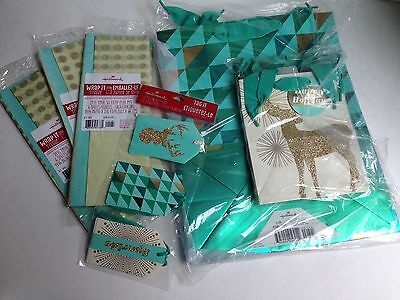 RARE! Lot of Christmas Holiday 8 Gift Bags, Tissue Paper, Tags - Turquoise/Gold