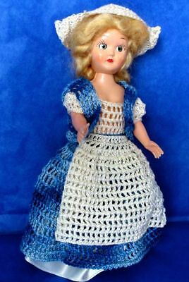 "American PMA- Plastic Molded Arts Doll 7.5"" Crocheted Clothes 1950s, signed"