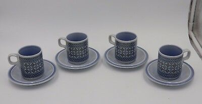 "Gorgeous Set Of 4 Hornsea England ""tapestry"" Demitasse Coffee/tea Cups & Saucers"