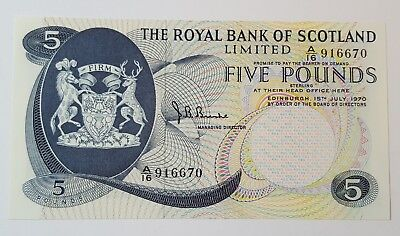 Royal Bank of Scotland Limited £5 Banknote A/16 916670 15 July 1970 - SC816b Unc