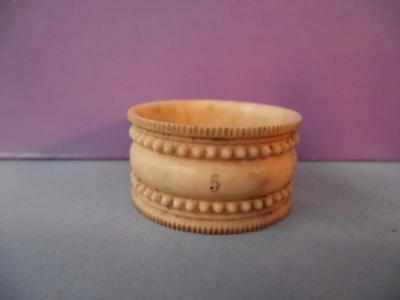 Antique Georgian Bovine Bone Carved Napkin Ring (one from a set) China 1840s