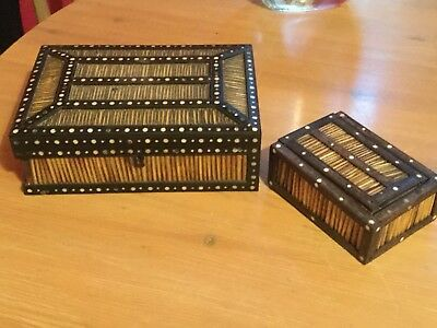 Antique Indian porcupine quill boxes x2 large one needs repair no reserve