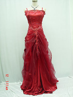 Cherlone Plus Size Red Long Ballgown Formal Bridesmaid Evening Wedding Dress 24