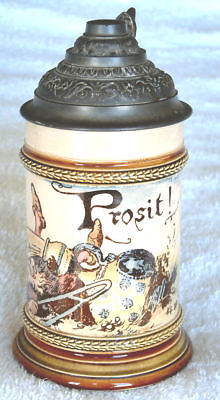 Lidded Mettlach Stein – 2179/961 Gnome Spilling Beer From Master Stein, ¼L,