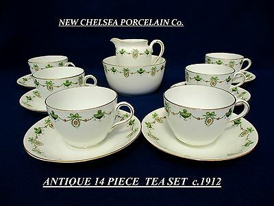 ANTIQUE NEW CHELSEA PORCELAIN Co. ------- 14 PIECE TEA SET  c.1912.