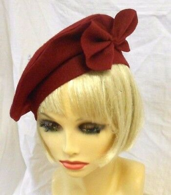 VINTAGE INSPIRED 1940's 1950's STYLE WINE RED FELT BERET HALO HAT - LARGE