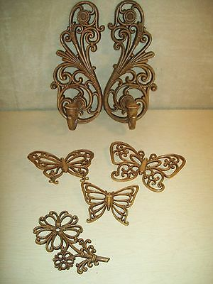 Vintage~Wall Decor~Syroco~Homco~1978~Butterflies~Sconce~Candle~Flower~Lot~