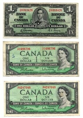 3X Bank Of Canada $1 Notes 1937 1954 1954