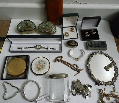 Job Lot of Vintage Collectables Costume Jewellery Silver brushes etc