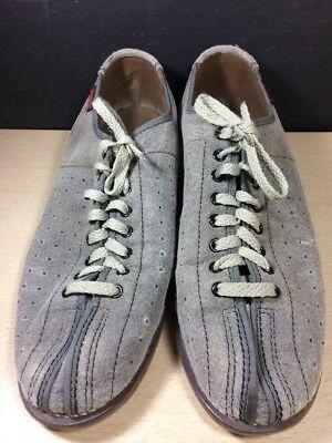 Dynamic Bowling Shoes Size 8 Vintage Gray Grey Suede 70's Retro