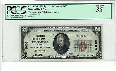 1929 $20 Ty 1 AMERICAN NATIONAL BANK PENSACOLA FL. Fr 1802-1 Ch #5603. PCGS VF35