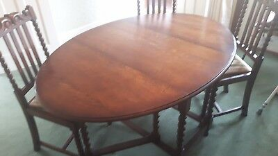 Antique Dining Table And Chairs, Solid Wood, Fold Down Leafs, Barley Twist Legs