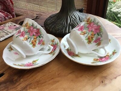 Two Matching Sets  Floral Pink Chintz Vale Bone China cups/saucers