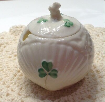 Irish Belleek Shamrock 3rd Black Mark Sugar Bowl With Lid