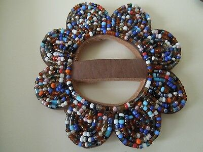 VINTAGE  ATTRACTIVE BEADED LEATHER   BUCKLE  No. 6