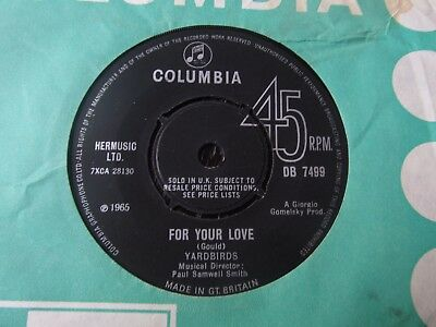 Yardbirds- For Your Love/Got to Hurry TOP COPY