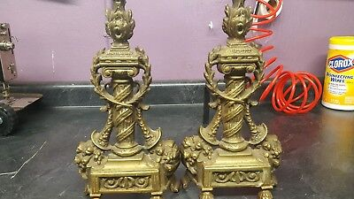 Pair Antique Ornate French Pillar Footed Style Andirons Cast Brass Iron Firedogs