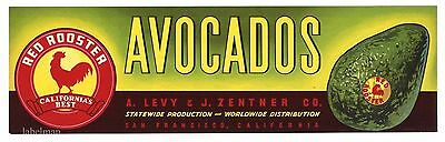 RED ROOSTER Brand, Avocado, Levy Zentner *AN ORIGINAL PRODUCE CRATE LABEL* E12