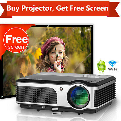 3800lm Android Wifi Projector Home Cinema TV HDMI and 16:9 84'' Projector Screen
